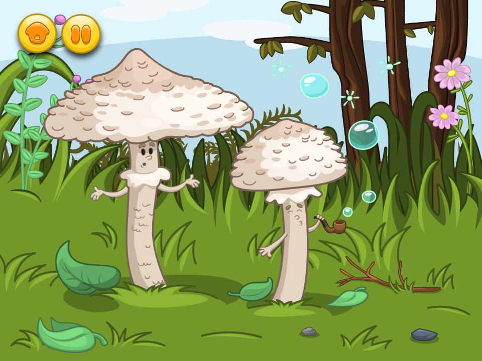 aplikacja edukacyjna - Grzyby - postaci grzybów do animacji ilustracje