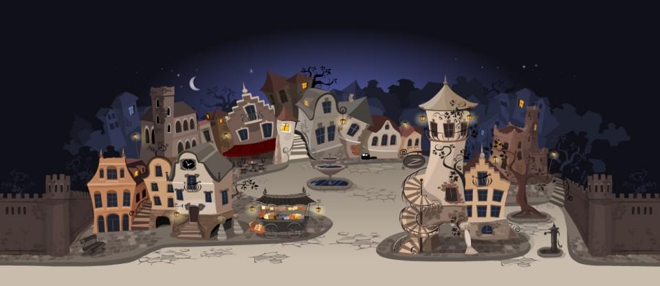 Ilustracje - domki nocą, miasto, poszukaj kota