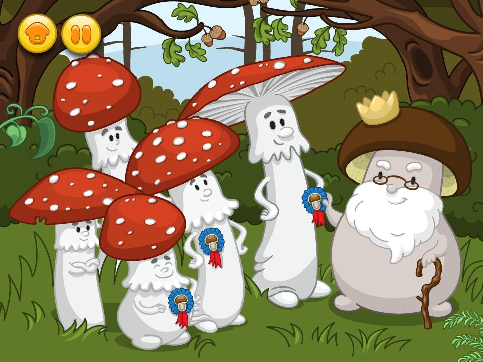 aplikacja edukacyjna - Grzyby - postaci grzybów w animacji ilustracje
