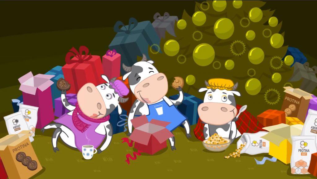 Krówki- animacja świąteczna, animowana e-kartka